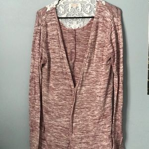 Pink cardigan with white lace